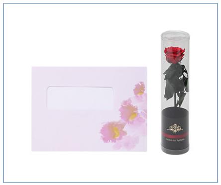 【ベーシック】カトレア<プリザーブドフラワー付き> 電報台紙料金:1,000円(税抜)