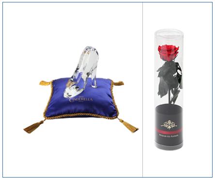 【キャラクター】シンデレラ(ガラスの靴)<プリザーブドフラワー付き> 電報台紙料金:11,000円(税抜)