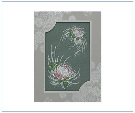 刺しゅう「つゆ菊」(つゆぎく) 電報台紙料金:1,500円(税抜)